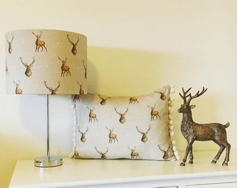 Stag print linen lampshades