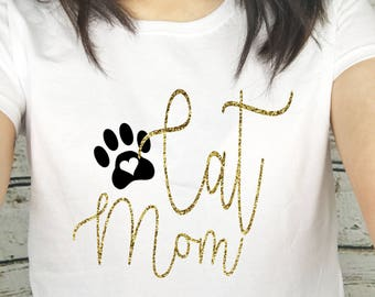 Cat Mom Gold Glitter Paw Print Print T Shirt Top Tee Womens