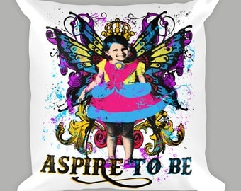 Aspire To Be Pillow, Child With Wings, Decorative Pillow, Throw Pillow