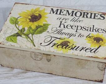 Sunflower Memory Box Keepsake Chest Birthday Sentimental Gift Nan Mothers Day SG1737 W18