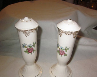 Vintage tall salt and pepper shakers - floral pattern