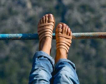Sandals,Greek sandals,Leather sandals,Full Strappy sandals,Handmade sandals,Women sandals,Women shoes,Triskelion,IRIS,