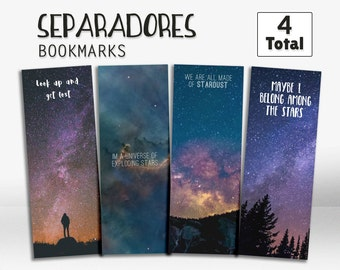 Star bookmarks, galaxy bookmarks, bookmark with stars, printable bookmark, gift idea, marcapáginas, separador de estrellas, punto de libros,