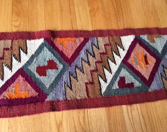 Vintage Southwestern/native/Bohemian style hand woven table runner/rug/wool