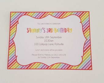 Pack of 10 ~ Rainbow themed personalised invitations
