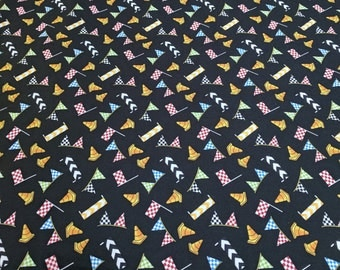 Race Day-Flags on Black Cotton Fabric from Wilmington Prints