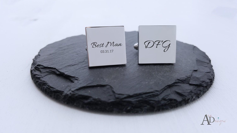 Personalized Cufflinks Engraved Cufflinks Square Monogram Cufflink