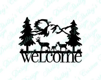 Deer Family, Welcome Wall Decal, Vinyl Wall Art, Wall Art Decals, Welcome Decal, Decorative Wall Decals, Cool Wall Decals, Welcome Stickers