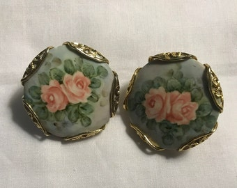 Vintage Hand Painted Porcelain Earrings, Roses, Gold Tone,