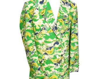 Lilly Pulitzer Men's Whimsical Seagull Print Jacket. 1970's.