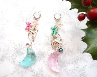 Earrings romantic pastel colors and soft Swarovski Crystal on metal silver colibir