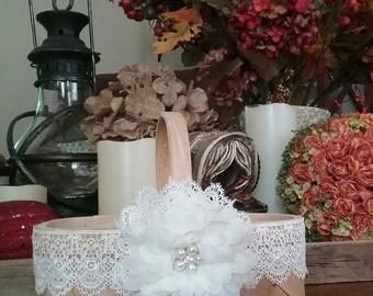 Rustic Wedding Flower Girl Basket -Wedding Basket -Flower Girl Basket -County Wedding Flower Girl Basket