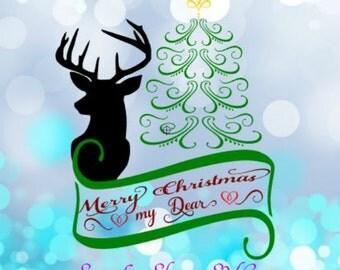 Reindeer svg / Christmas deer svg / Deer svg / Christmas svg / Holiday svg / Merry Christmas svg / Christmas svg / svg, dxf, pdf, png, jpg