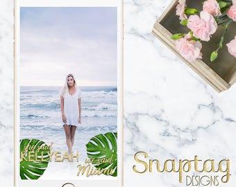 Custom Snapchat Geofilter || tropical bachelorette, palm leaves, tropical, bachelorette, she said yes, bride, bridal shower, gold