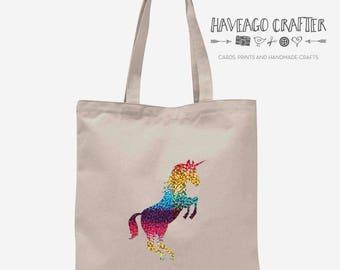 Unicorn cotton tote bag. Shopping bag, eco bag.