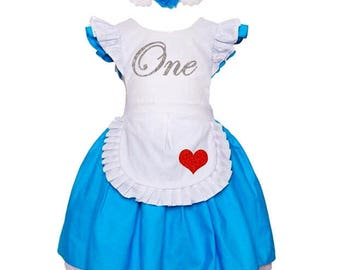 Alice in Wonderland Dress / Alice 1st Birthday / Baby Girls First Birthday Outfit / Alice in ONEderland / Mad Hatter Tea Party Unbirthday