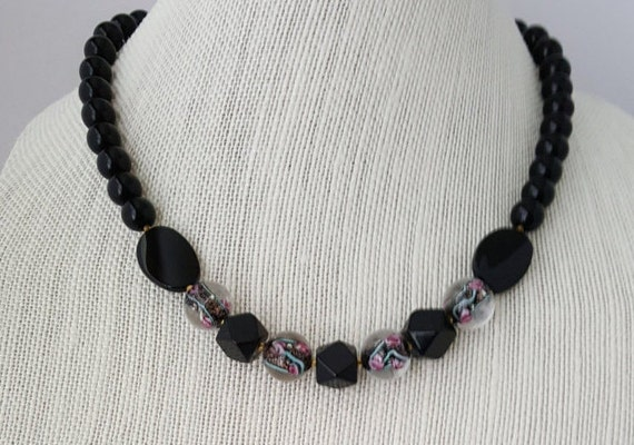 Black necklace with fused glass beads