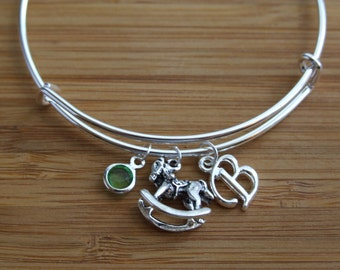 Personalized Mommy Bracelet, New Mom Bangle, Adjustable Bangle Rocking Horse, Birthday Gift, Birthstone Initial Bracelet, Dangling Charms