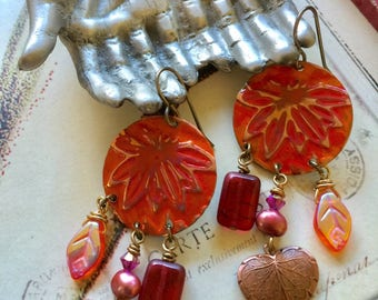 Stamped - Painted - Copper - Hearts - Bohemian - Earrings