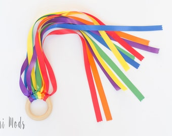 Easter basket gift etsy rainbow hand kite and organic wooden ring toddler toy sensory toy baby easter negle Choice Image
