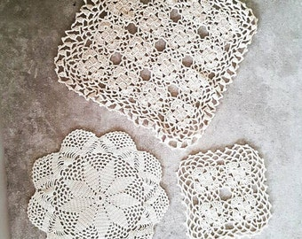 Hand crocheted doilies, set of 3, hand crocheted items, vintage doilies, handmade doilies, crochet doilies, white doilies, table topper