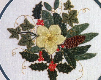 Winter Evergreens- a crewel embroidery kit