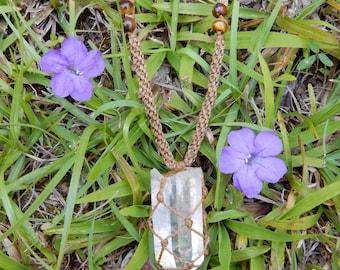 Clear Quartz Crystal Macrame Necklace