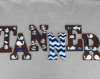 Nautical Letters - Handpainted Custom Made - Nautical Theme - Whale Theme - Boat Theme - Fish Theme - Nursery Decor