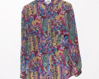 Colorful Retro Print Long Sleeve Silk Shirt