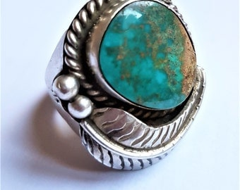 Heavy silver and turquoise navajo inspired vintage ring