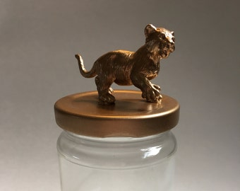 Lion Cub Glass Jar