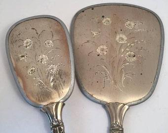 Silver Plated Dresser Set Hand Mirror and Hairbrush ~ Brush and Mirror Set ~ Vintage Hand Mirror and Brush ~ Dresser Set