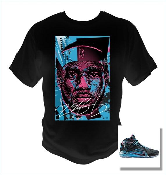 Lebron James 12 Black T-Shirt Black/Pink Pow/Blue Lagoon Theme Made to Match Shoes