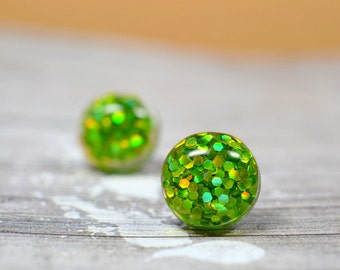 Green Glitter Earrings, Sparkly Yellow Green Gold Party Jewelry, Christmas Studs New Years Eve Parties, Holiday Gift Ideas