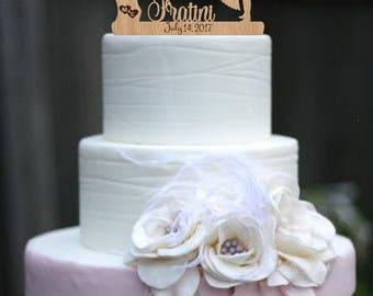 Mr and mrs name Custom cake topper Wood cake topper Last name wedding cake topper Personalized cake topper Gold Unique wedding cake topper
