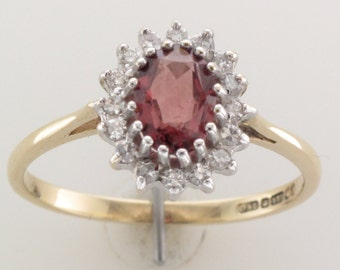 Vintage Garnet & Diamond 9ct Gold Cluster Ring