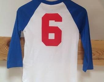 Tshirt Baseball Tee White & Blue sz. S, Vintage Retro Hipster Tshirt 1980s Small