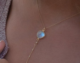 Moonstone Y Necklace * June Birthstone * Handmade * Boho * Bridesmaid Gift * Wedding * Mermaid * Everyday * Gift for her