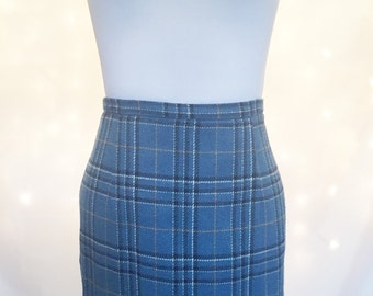 Blue Plaid Tartan Midi Pencil Skirt with Fringe Detailing - Size 10