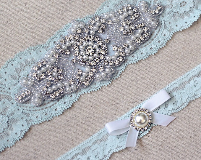Something blue Wedding Garter Set NO SLIP grip vintage rhinestones pearl lace rhinestone