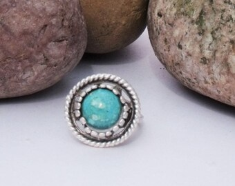 Silver Plated Brass Adjustable Ring with Eilat Stone Cabochon