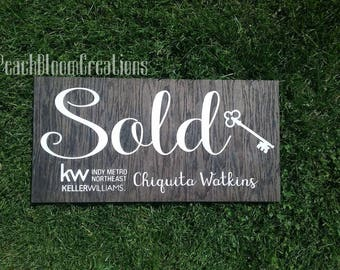 personalized realtor sign, custom realtor sold sign, realtor gift, realtor logo sign, realtor marketing sign,  best selling items wood