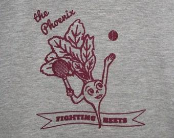 Phoenix Tennis Beet T-shirt : Hand Screen printed artwork, vegan, sports, men's, women's, exercise, purple, raqcuet, vegetarian, Arizona