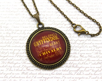 Harry Potter, Gryffindor House Song, Gryffindor Personality Necklace or Keychain, Keyring