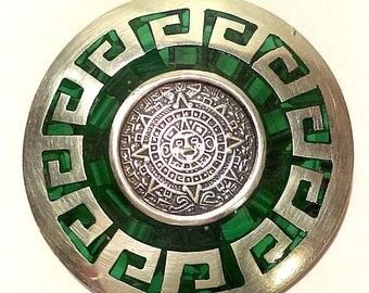 Vintage Mexican TAXCO .925 Sterling Silver and Malachite Mayan Calendar Pin Brooch