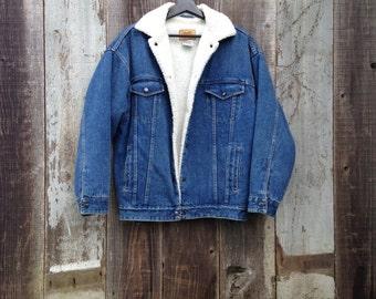 Beautiful Vintage Sherpa Denim Jacket | Insulated Denim Jacket |