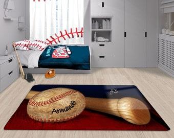 Baseball Area Rug Personalized Custom Matt