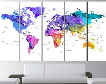 Push Pin Watercolor World Map Canvas Print World Map Wall Art Set World Map Print World Map Poster Wall Art Canvas Watercolor Map Wall Decor