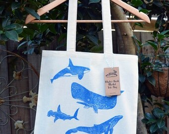 Whales & Shark Tote Bag, Cotton Market Bag, Hand Printed