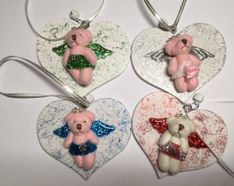 Bear angels on a heart, cute gift idea